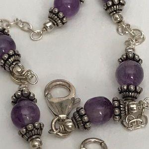 Genuine Amethyst Bali Bead Bracelet